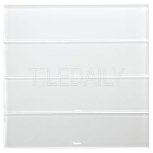 White Glass Subway Tile Kitchen Backsplash Shower Wall