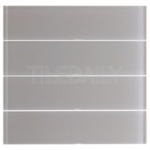 Warm Light Grey Glass Subway Wall Tile Kitchen Backsplash Shower Wall