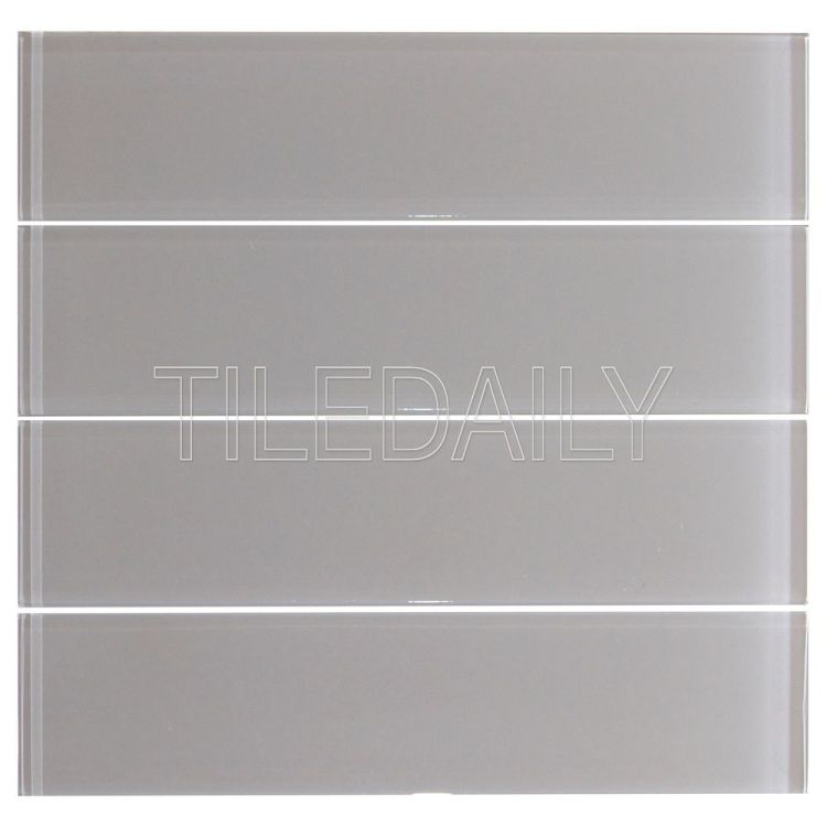 Warm Light Grey Glass Subway Wall Tile Kitchen Backsplash Shower Wall