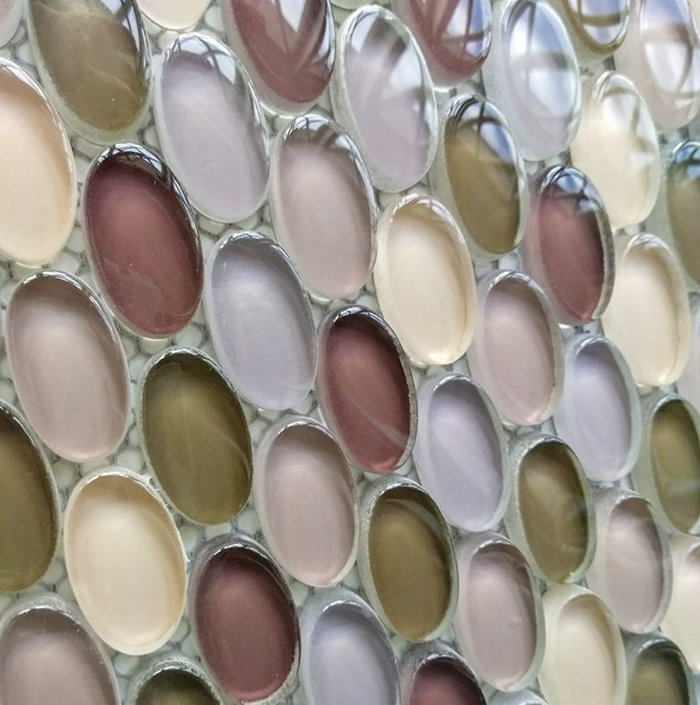 Oval Glass Mosaic Tile Mix Olive Brown On Sale