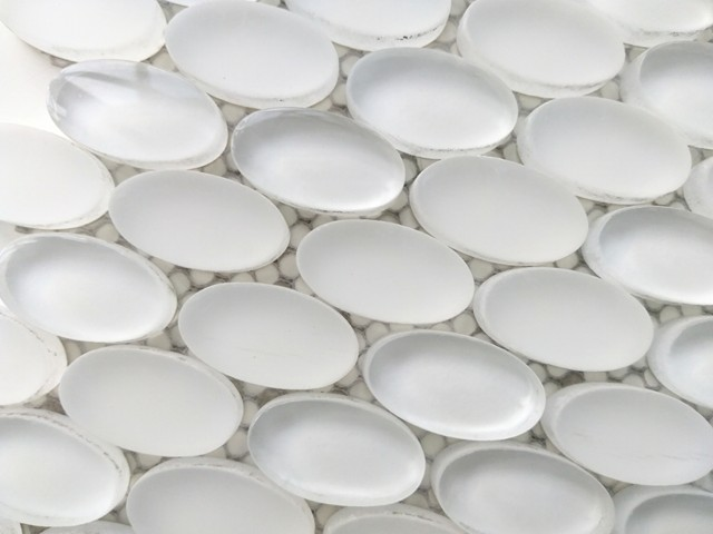 Oval Glass Mosaic Tile White On Sale
