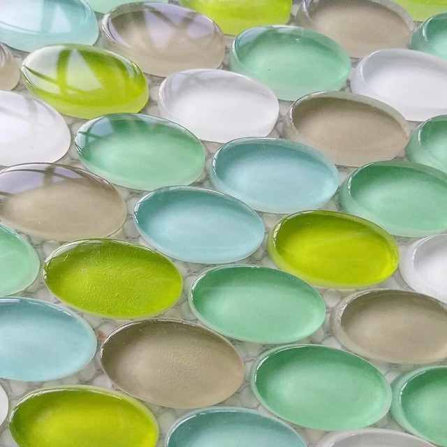 Oval Glass Mosaic Tile Mix Blue Green On Sale