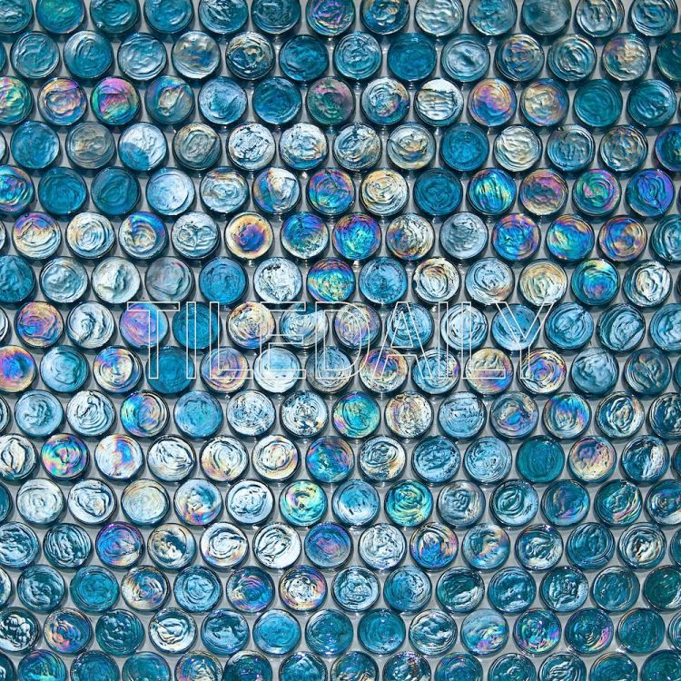 Turquoise Blue Iridescent Penny Round Glass Mosaic Swimming Pool Tile