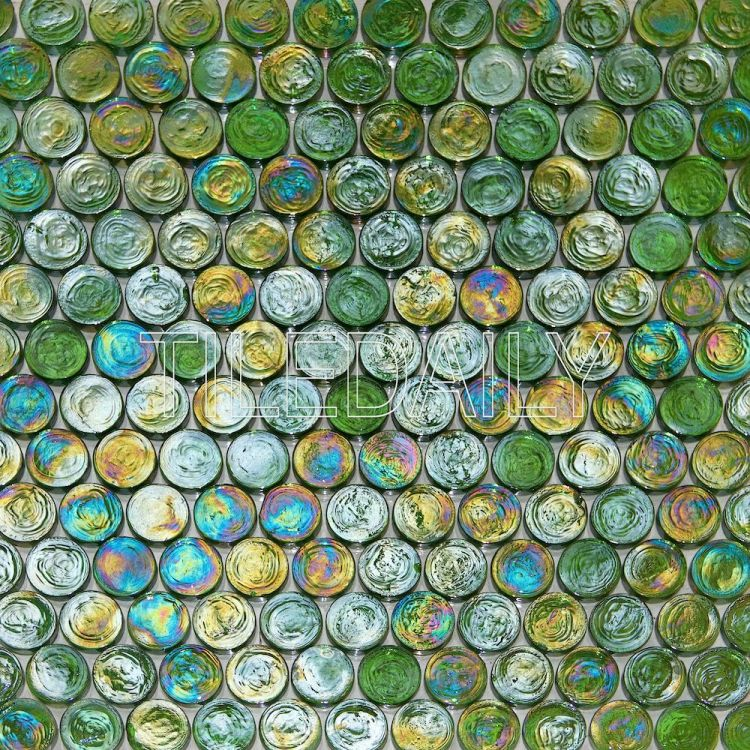 Green Iridescent Penny Round Glass Mosaic Swimming Pool Tile
