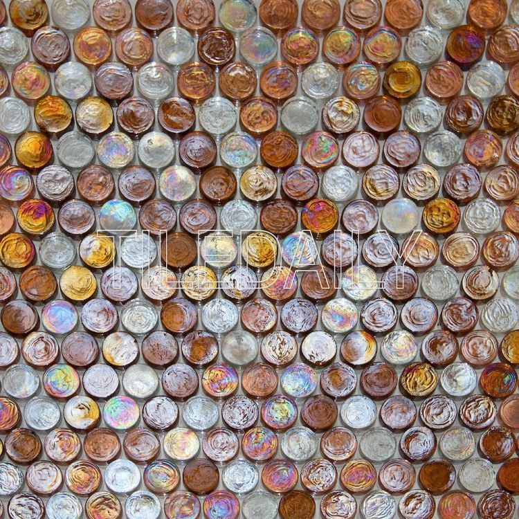 Golden Brown Iridescent Penny Round Glass Mosaic Swimming Pool Tile
