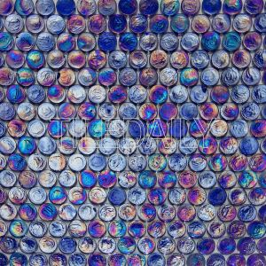 Dark Blue Iridescent Penny Round Glass Mosaic Swimming Pool Tile