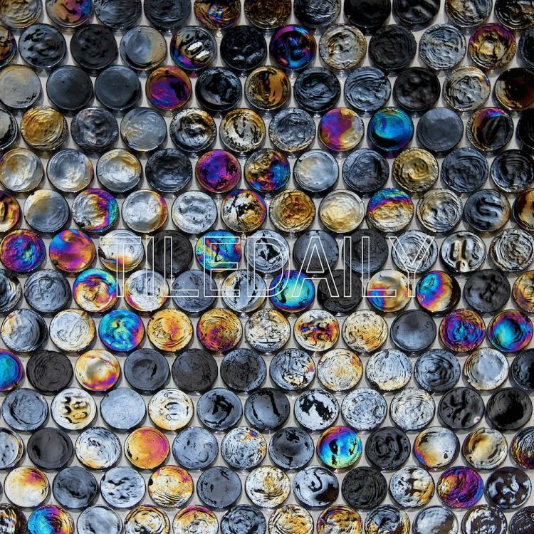 Black Iridescent Penny Round Glass Mosaic Swimming Pool Tile