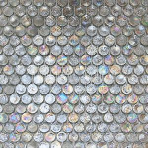 Ice White Iridescent Penny Round Glass Mosaic Swimming Pool Tile