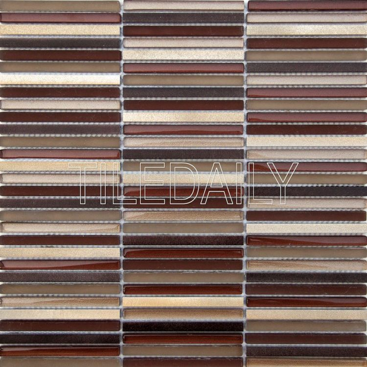 bronze metallic stix glass and metal mosaic wall tile