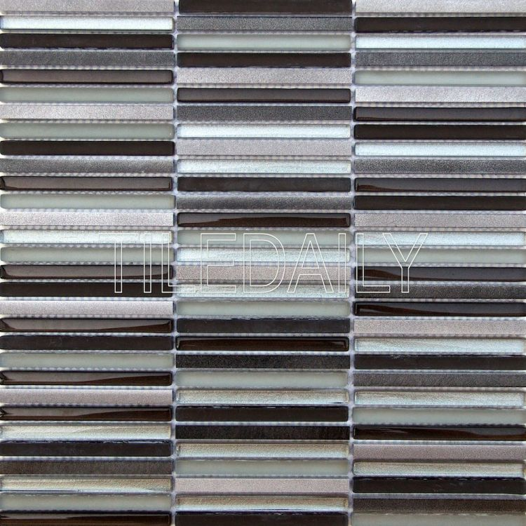 silver metallic stix glass and metal mosaic wall tile