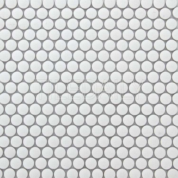PM0092 Retro Penny Round, White, TileDaily