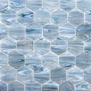 glacier hexagon glass mosaic pool tile iridescent blue