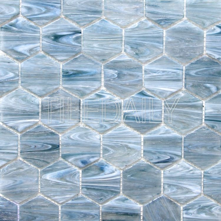 glacier hexagon glass mosaic pool tile iridescent blue