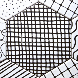 abstract pattern hexagon porcelain tile black and white for wall and floor