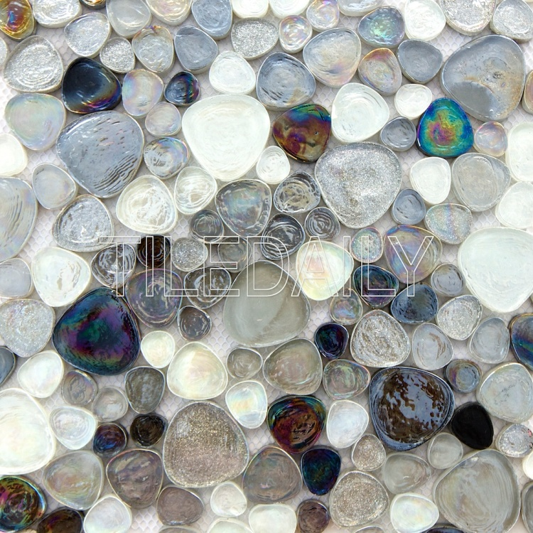 iridescent pebble glass mosaic wall tile silver grey sparkle