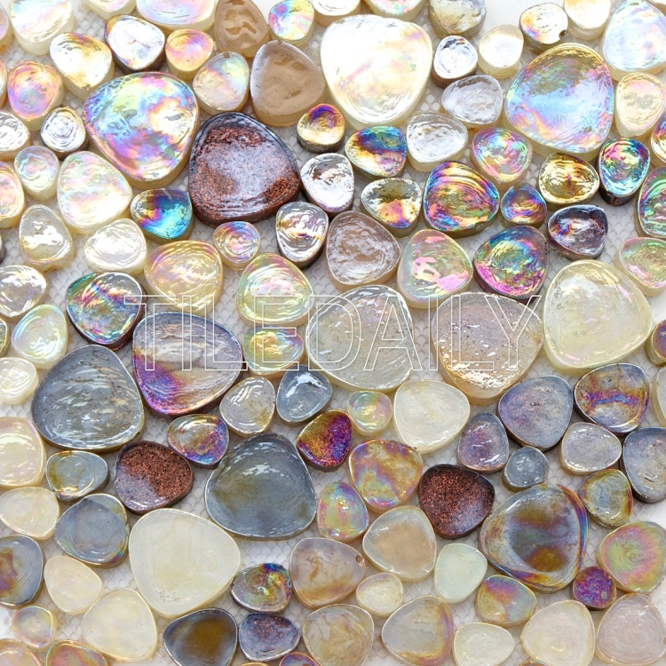 champagne iridescent pebble glass mosaic wall tile light bronze mix brown sparkle