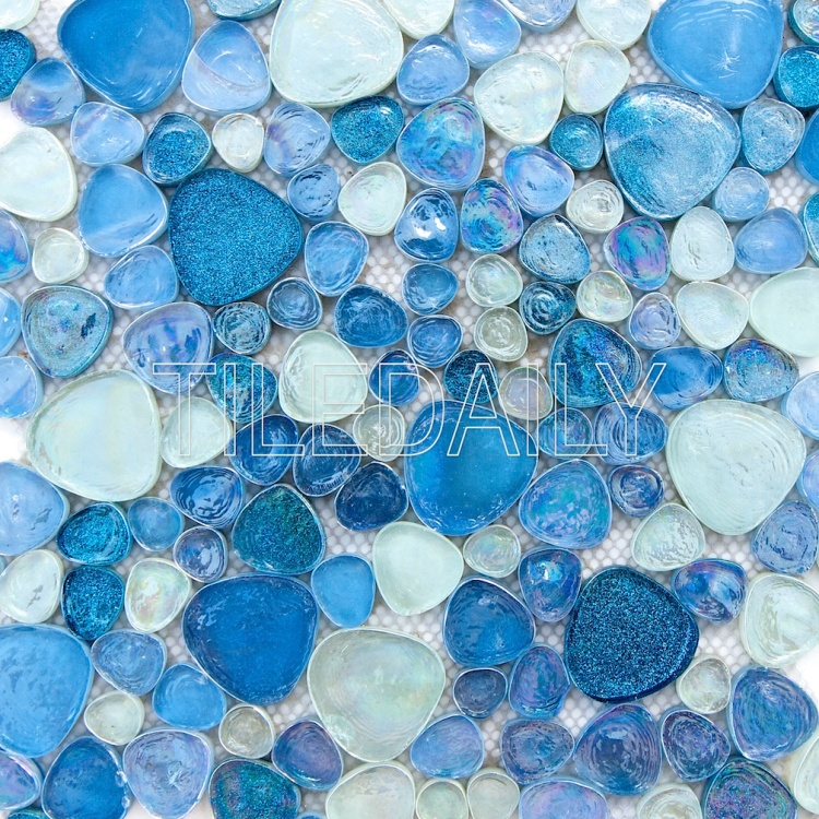 iridescent pebble glass mosaic wall tile silver blue sparkle