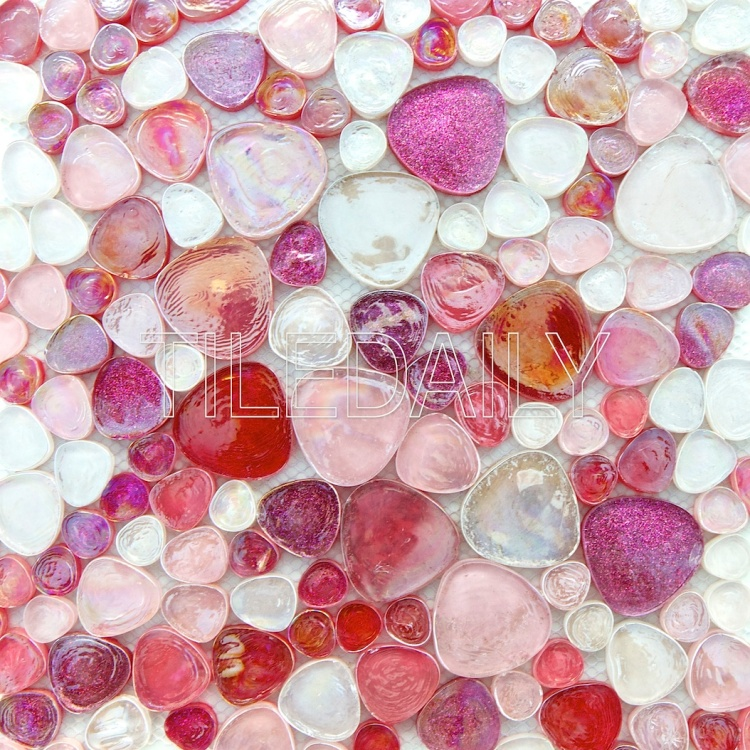 iridescent pebble glass mosaic wall tile pink fuschia sparkle