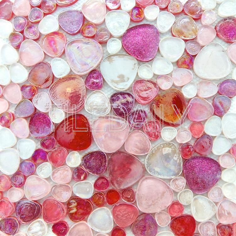 iridescent pebble glass mosaic wall tile pink fuschia sparkle