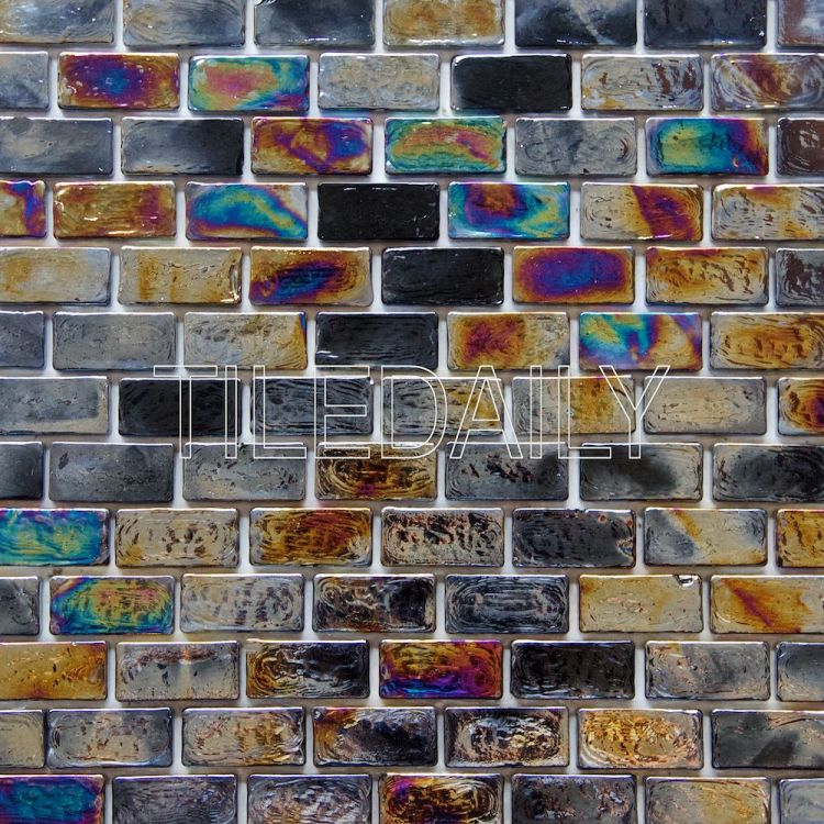 Black Iridescent Brick Glass Mosaic For Wall and Swimming Pool Tile