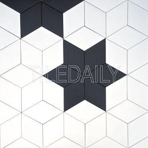 diamond cube Illusion ceramic wall tile black and white