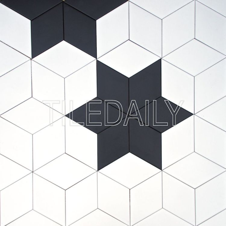 diamond cube Illusion ceramic wall tile black and white