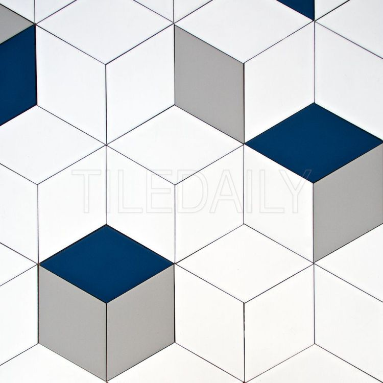 diamond cube Illusion ceramic wall tile navy blue and white