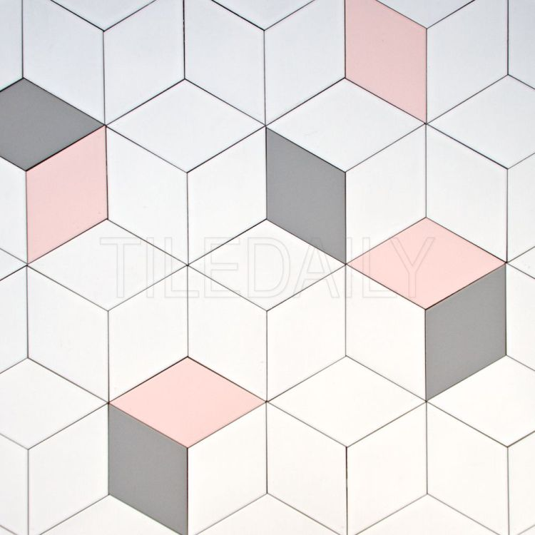 diamond cube Illusion ceramic wall tile pink grey white