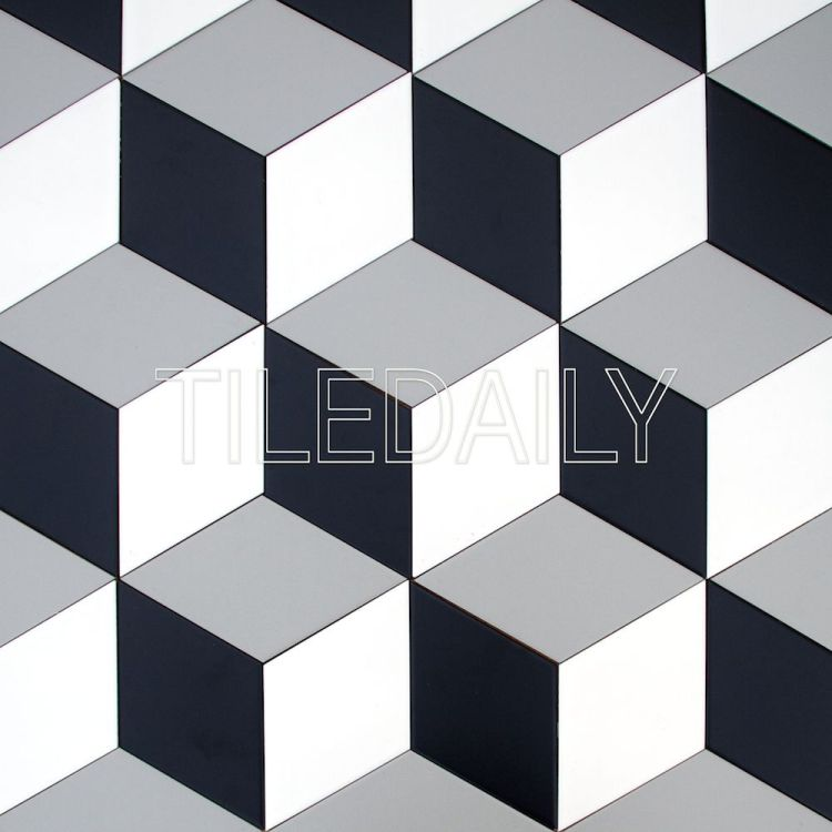 diamond cube Illusion ceramic wall tile grey black and white