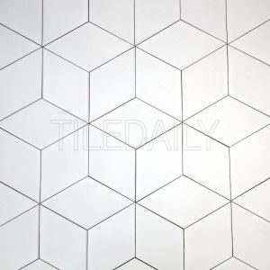 diamond white cube Illusion ceramic wall tile design