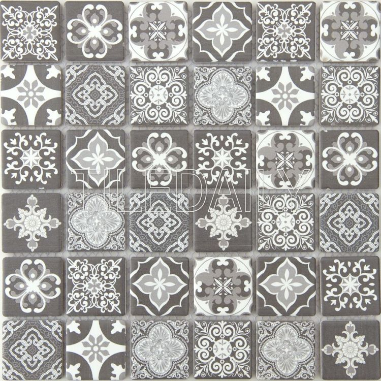 Grey Encaustic Pattern Ceramic Mosaic Wall Tile