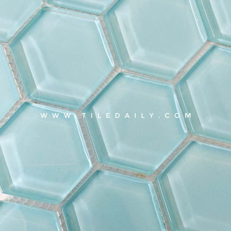 blue glass hexagon mosaic for kitchen wall tile and pool waterline