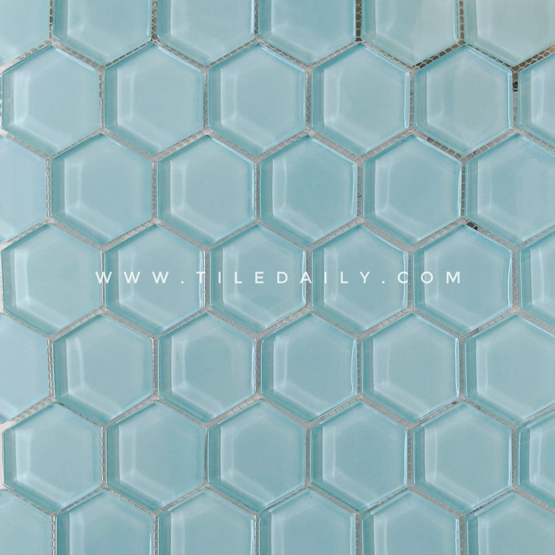 Hexagon Glass Mosaic Tiledaily