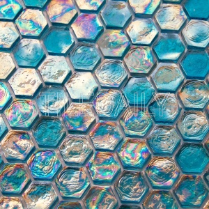 turquoise iridescent glass hexagon mosaic peacock blue for wall and swimming pool tile
