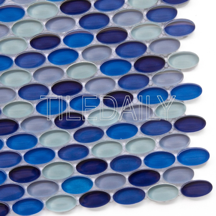 bright colorful mix blue oval glass mosaic for kitchen wall tile design