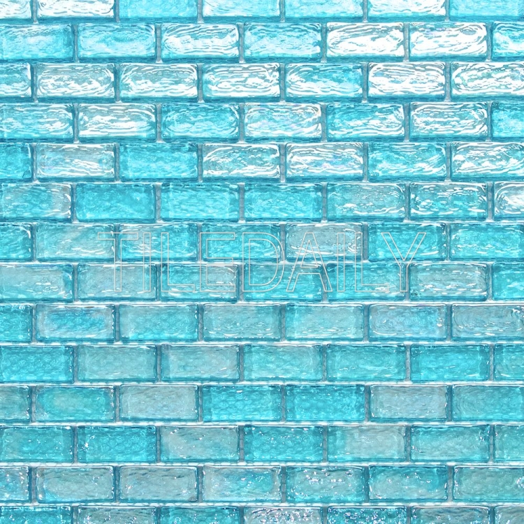 turquoise blue iridescent brick glass mosaic wall kitchen and bathroom tile
