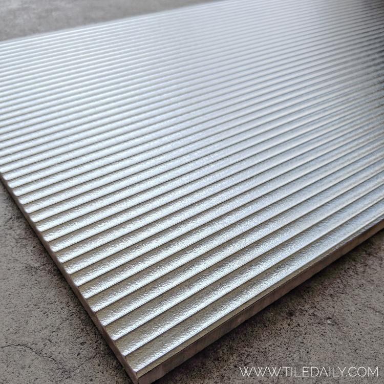 Silver Groove Metallic tile for wall design bathroom and fireplace facade