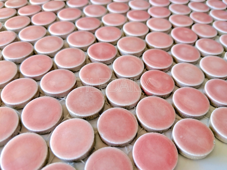 pink penny round mosaic for wall and floor tile