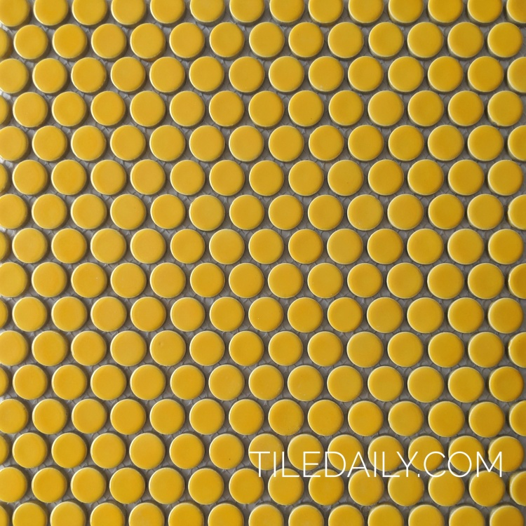 bright yellow penny round mosaic tile for kitchen wall and restaurant wall design