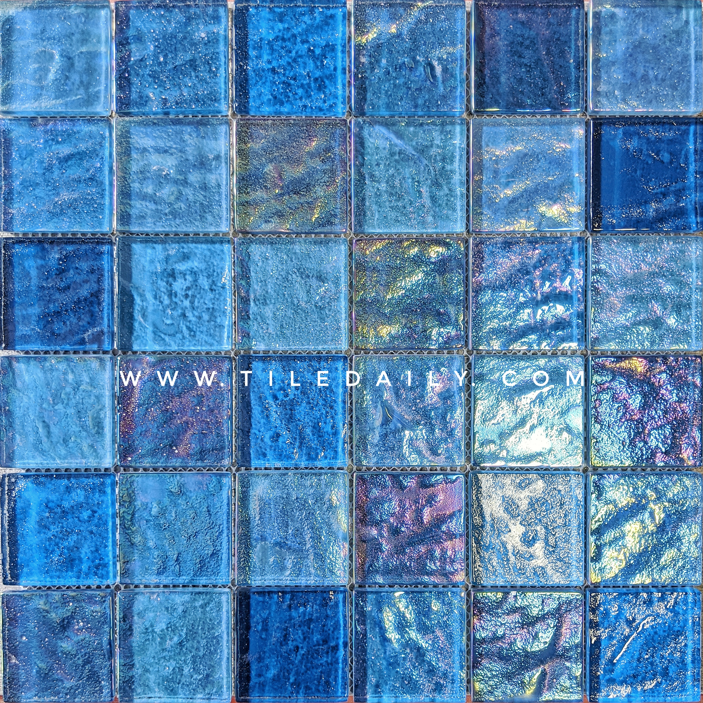 Shimmer Blue Pool Glass Mosaic tile from TileDaily. GM0160BE