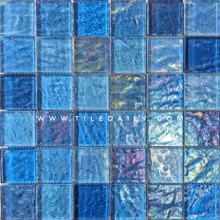 Shimmer Blue Pool Mosaic Tile, GM0160BE